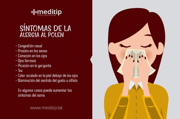 Síntomas de la alergia al polen: congestión nasal, presión en los senos paranasales, comezón en los ojos, ojos llorosos, picazón en la garganta, tox, piel color azul debajo de los ojos, disminución del sentido del gusto y olfato, intensificación de los síntomas del asma