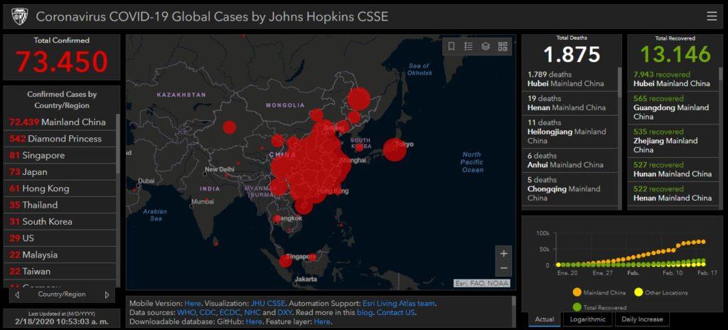 Mapa de actualización de infecciones por coronavirus COVID-19