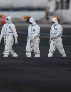 Visión general del coronavirus: profesionales de la salud con trajes especiales