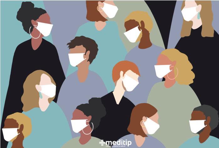 Personas con tapabocas: visión general del coronavirus