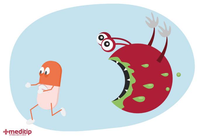Ilustración de una superbacteria resistente: resistencia antimicrobiana