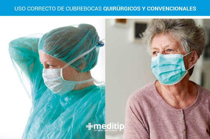 Uso correcto de cubrebocas quirúrgicos: enfermera y mujer adulto mayor