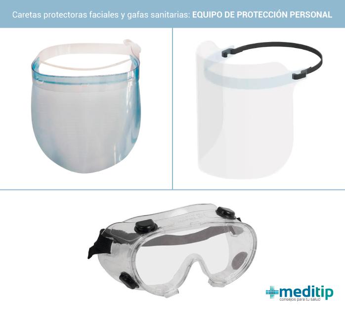 Caretas protectoras faciales y gafas sanitarias: equipo de protección personal